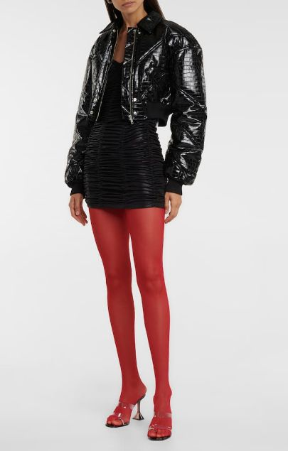 Rubino colored tights with black leather
