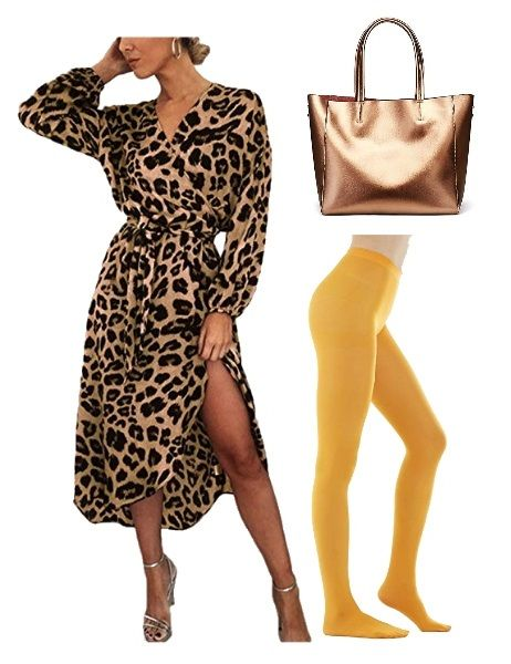 How to Wear yellow tights: with animal print