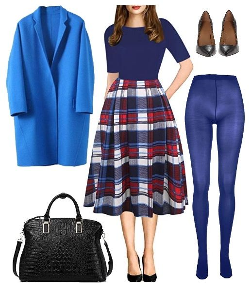 How to wear Colored Tights: The Checked with Blue