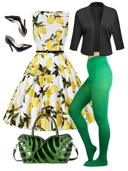 How to wear the green tights: with yellow print