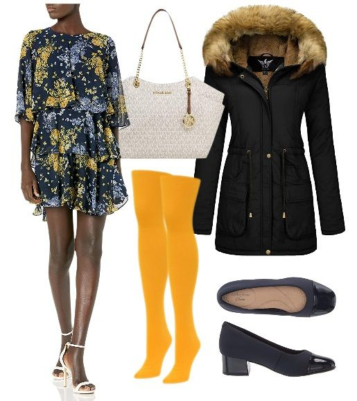 Bright Yellow Tights with Printed Dress